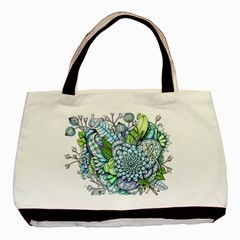 Peaceful Flower Garden 2 Twin Sided Black Tote Bag by Zandiepants