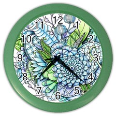 Peaceful Flower Garden 2 Wall Clock (color) by Zandiepants