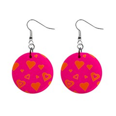 Hot Pink And Orange Hearts By Khoncepts Com Mini Button Earrings