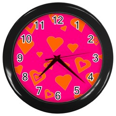 Hot Pink And Orange Hearts By Khoncepts Com Wall Clock (black)