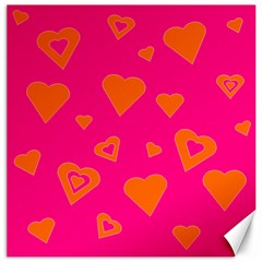 Hot Pink And Orange Hearts By Khoncepts Com Canvas 16  X 16  (unframed) by Khoncepts