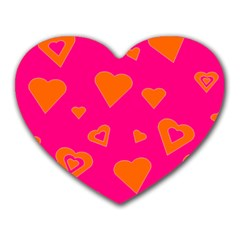 Hot Pink And Orange Hearts By Khoncepts Com Mouse Pad (heart)