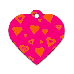 Hot Pink And Orange Hearts By Khoncepts Com Dog Tag Heart (two Sided) by Khoncepts