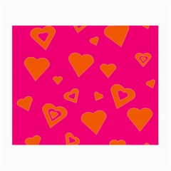 Hot Pink And Orange Hearts By Khoncepts Com Glasses Cloth (small, Two Sided) by Khoncepts