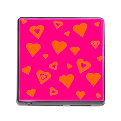 Hot Pink And Orange Hearts By Khoncepts Com Memory Card Reader With Storage (square) by Khoncepts