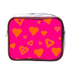 Hot Pink And Orange Hearts By Khoncepts Com Mini Travel Toiletry Bag (one Side)