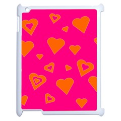 Hot Pink And Orange Hearts By Khoncepts Com Apple Ipad 2 Case (white) by Khoncepts