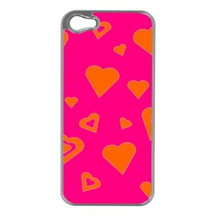 Hot Pink And Orange Hearts By Khoncepts Com Apple Iphone 5 Case (silver) by Khoncepts