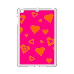 Hot Pink And Orange Hearts By Khoncepts Com Apple Ipad Mini 2 Case (white) by Khoncepts