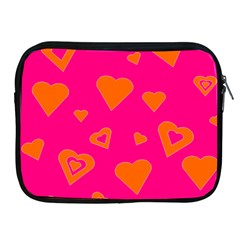 Hot Pink And Orange Hearts By Khoncepts Com Apple Ipad Zippered Sleeve by Khoncepts