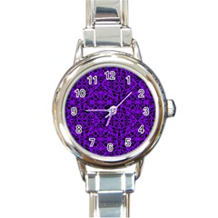 Black And Purple String Art Round Italian Charm Watch by Khoncepts
