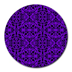 Black and Purple String Art Round Mousepad by Khoncepts