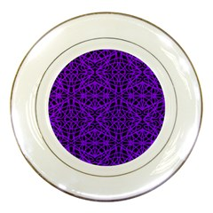 Black And Purple String Art Porcelain Plate