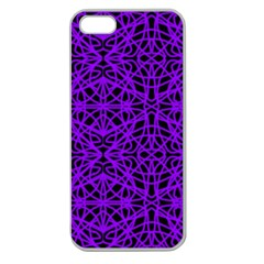 Black And Purple String Art Apple Seamless Iphone 5 Case (clear) by Khoncepts