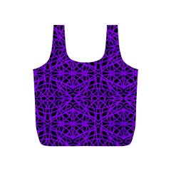 Black And Purple String Art Full Print Recycle Bag (s) by Khoncepts