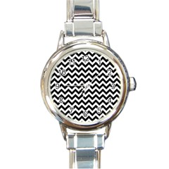 Black And White Zigzag Round Italian Charm Watch by Zandiepants