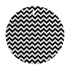 Black And White Zigzag Round Ornament by Zandiepants