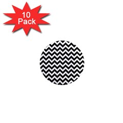 Black And White Zigzag 1  Mini Button Magnet (10 Pack) by Zandiepants
