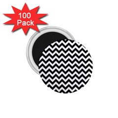 Black And White Zigzag 1 75  Button Magnet (100 Pack) by Zandiepants