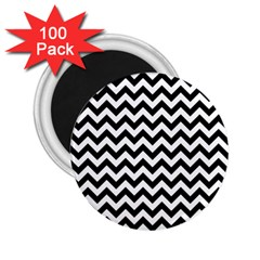Black And White Zigzag 2 25  Button Magnet (100 Pack) by Zandiepants