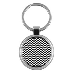 Black And White Zigzag Key Chain (round) by Zandiepants