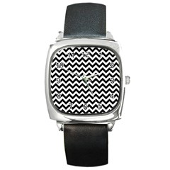Black And White Zigzag Square Leather Watch by Zandiepants