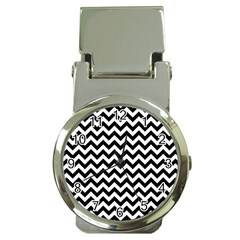 Black And White Zigzag Money Clip With Watch by Zandiepants