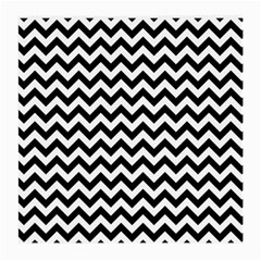 Black And White Zigzag Glasses Cloth (medium, Two Sided) by Zandiepants