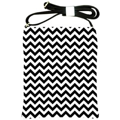Black And White Zigzag Shoulder Sling Bag by Zandiepants