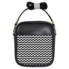 Black And White Zigzag Girl s Sling Bag by Zandiepants