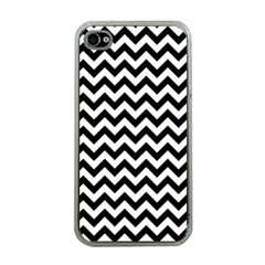 Black And White Zigzag Apple Iphone 4 Case (clear) by Zandiepants