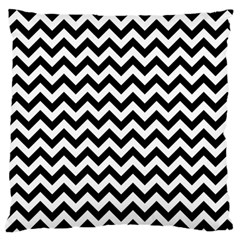 Black And White Zigzag Large Cushion Case (two Sided)  by Zandiepants