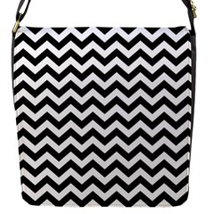 Black And White Zigzag Flap Closure Messenger Bag (small) by Zandiepants