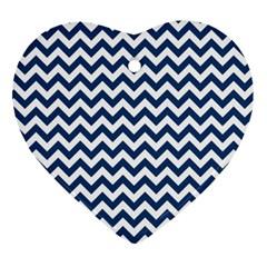 Dark Blue And White Zigzag Heart Ornament by Zandiepants
