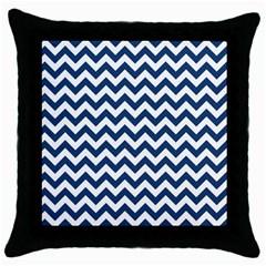 Dark Blue And White Zigzag Black Throw Pillow Case by Zandiepants