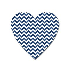 Dark Blue And White Zigzag Magnet (heart) by Zandiepants