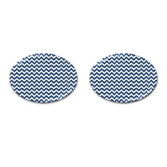 Dark Blue And White Zigzag Cufflinks (oval) by Zandiepants