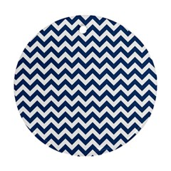 Dark Blue And White Zigzag Round Ornament (two Sides) by Zandiepants