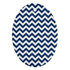 Dark Blue And White Zigzag Oval Ornament (two Sides) by Zandiepants