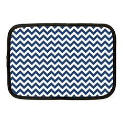Dark Blue And White Zigzag Netbook Sleeve (medium) by Zandiepants