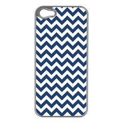 Dark Blue And White Zigzag Apple Iphone 5 Case (silver) by Zandiepants