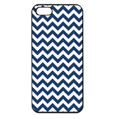 Dark Blue And White Zigzag Apple Iphone 5 Seamless Case (black) by Zandiepants
