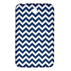 Dark Blue And White Zigzag Samsung Galaxy Tab 3 (7 ) P3200 Hardshell Case  by Zandiepants