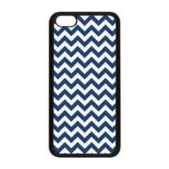 Dark Blue And White Zigzag Apple Iphone 5c Seamless Case (black) by Zandiepants