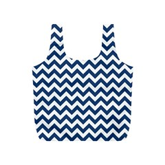 Dark Blue And White Zigzag Reusable Bag (s) by Zandiepants