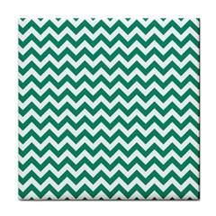 Emerald Green And White Zigzag Ceramic Tile by Zandiepants