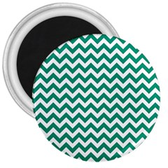 Emerald Green And White Zigzag 3  Button Magnet by Zandiepants