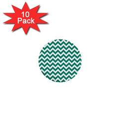 Emerald Green And White Zigzag 1  Mini Button (10 Pack) by Zandiepants