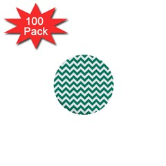 Emerald Green And White Zigzag 1  Mini Button (100 Pack) by Zandiepants