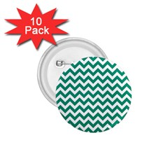 Emerald Green And White Zigzag 1 75  Button (10 Pack) by Zandiepants